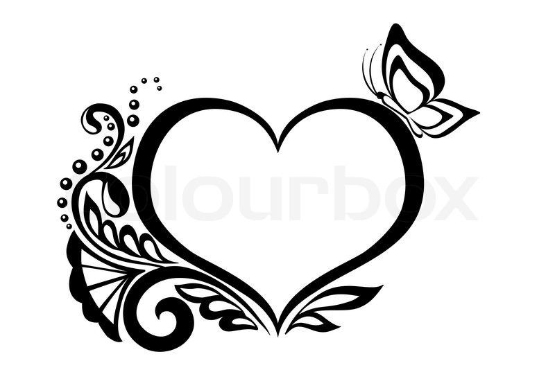 Stock-Vektor von 'Schwarz-weiße Symbol für ein Herz mit Blumenmuster ...