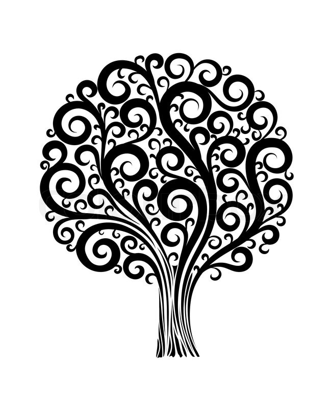 black tree in a flower design with swirls and flourishes