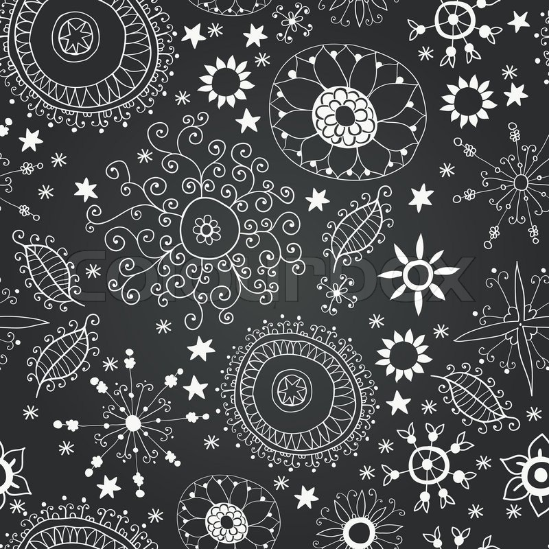 Vector Chalkboard Seamless Floral ...