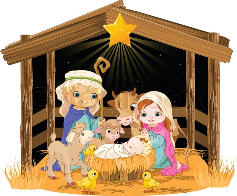 Christmas nativity scene with holy family. | Stock Vector ...