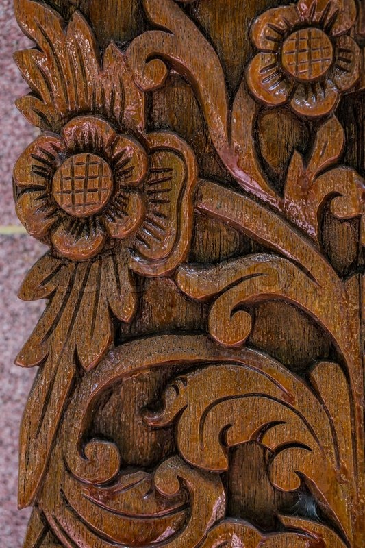 Flower Thai style Teak wood carving Door in Chiangmai Thailand ...