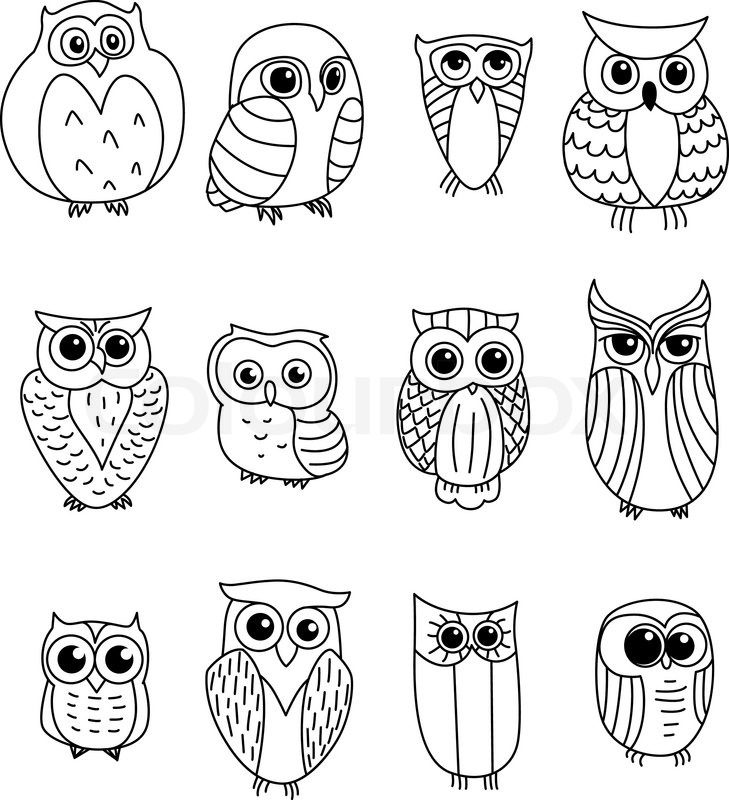Owl Easy Desighn Coloring Pages