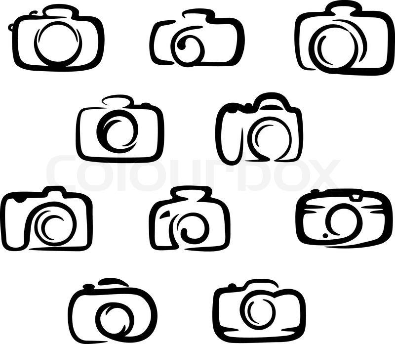 kamerasymbolesatz vektorgrafik colourbox