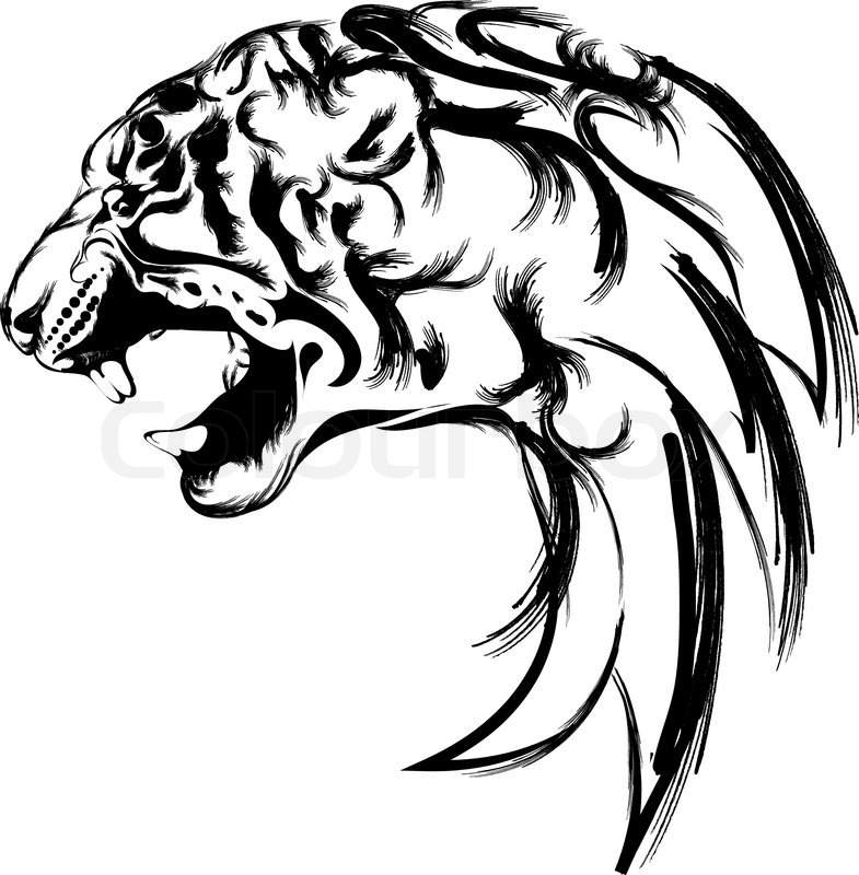 tiger head for logo tattoo or icon stock vector