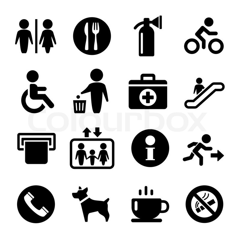 Vector International Service Signs Icon Set Exit Wc Cafe