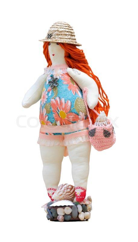 Dicke Frau in Badeanzug und einem Strohhut auf einem Ständer hergestellt  aus Schalen   Stockfoto   Colourbox db024cac8f