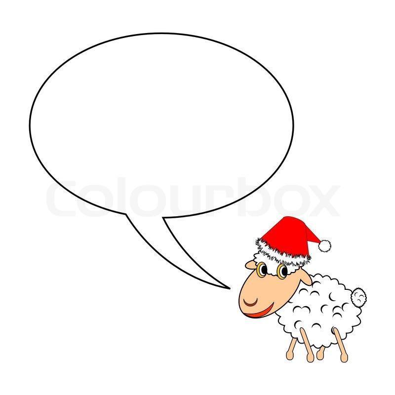 ein lustig weihnachten cartoon schaf mit sprechblase. Black Bedroom Furniture Sets. Home Design Ideas