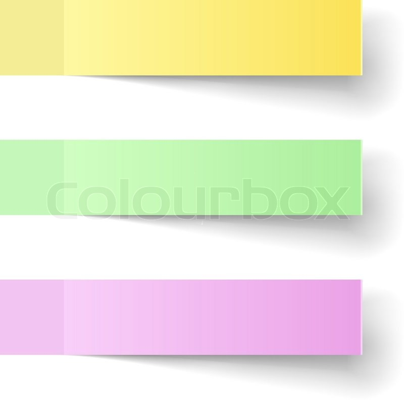 Color Sticky Notes Vector Template With Shadow  Stock Vector