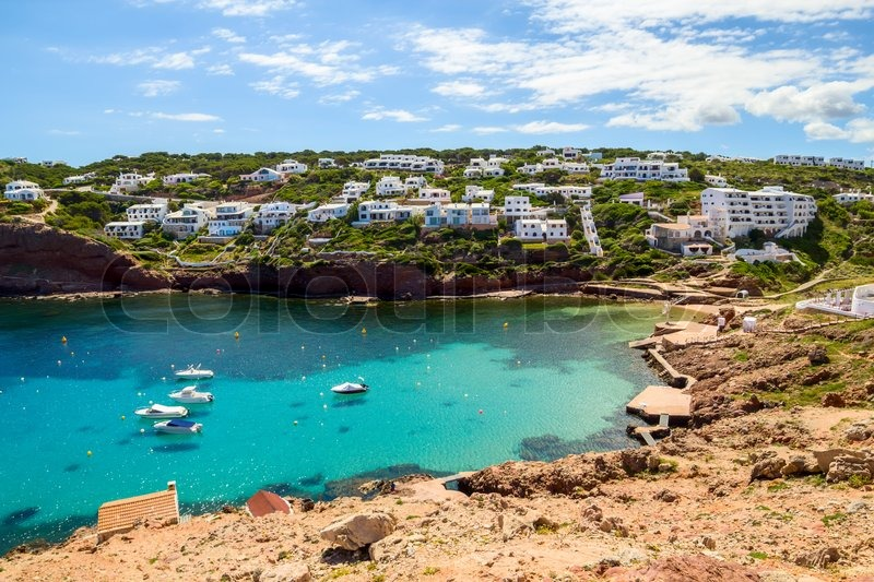 Cala Morell Cove Scenery In Sunny Day At Menorca Spain Stock Photo Colourbox
