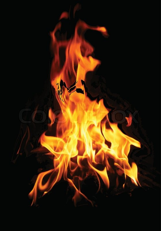 Illustration of burning fire flame on black background ...