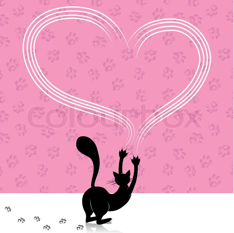 Valentine Day Cat Scratching Heart Wall With Animal Paw Track Feet Print Vector Stock Vector