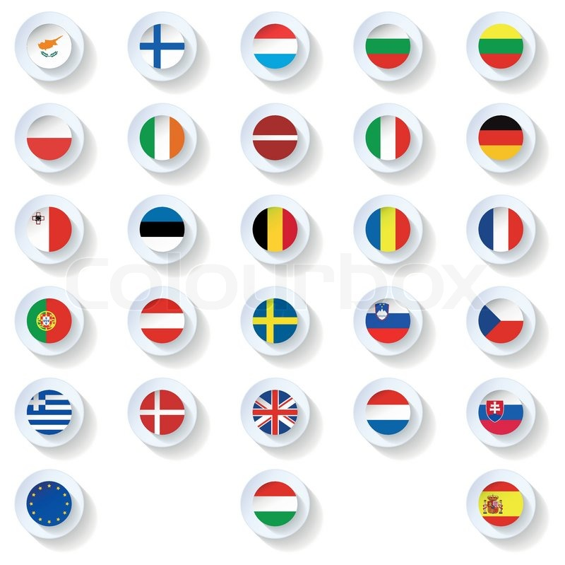 Europe Union Countries Flags Flat Icons Set Vector Graphic Stock