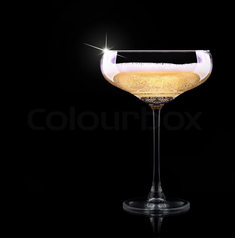 Luxury Champagne Glass On A Black Background Stock Photo