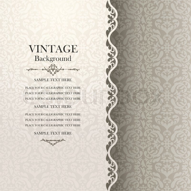 Stock Vector Of Vintage Background Antique Greeting Card Invitation With Lace And Floral