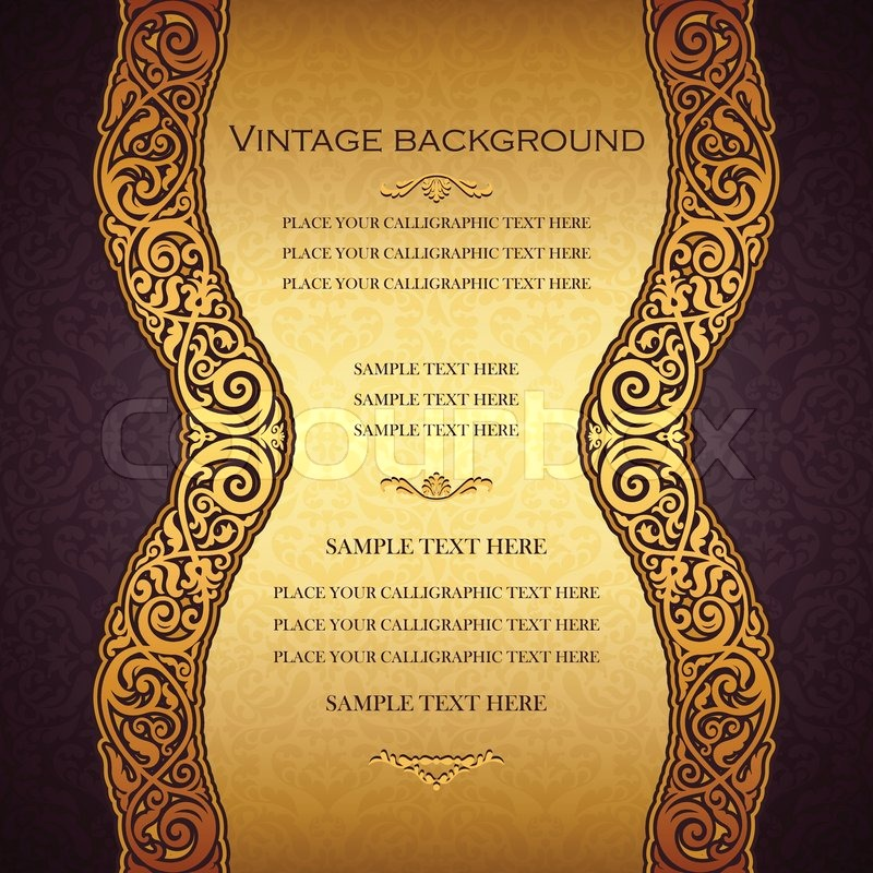 Vintage gold background antique victorian golden ornament baroque frame beautiful invitation card ornate cover page label floral luxury ornamental pattern template for design stock vector colourbox stopboris Image collections
