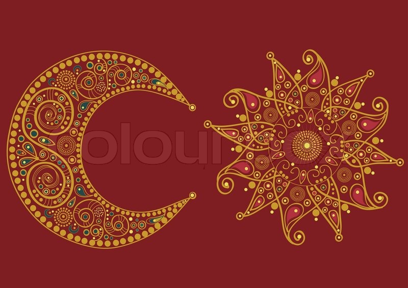 abstract stylized sun and moon on red background stock vector