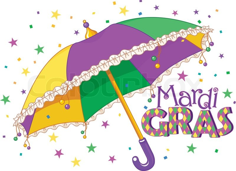 Mardi Gras type treatment with colorful umbrella | Stock ...