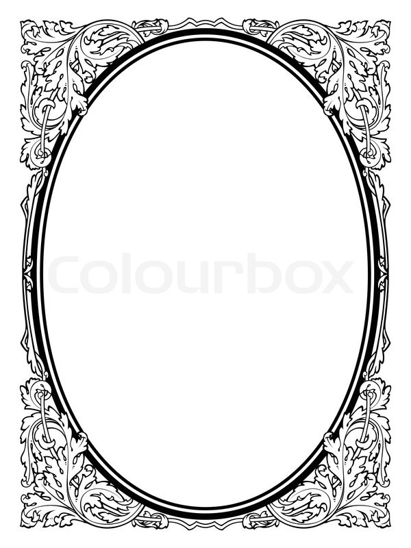 Calligraphy penmanship oval baroque frame black isolated, not traced ...