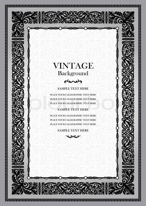 Vintage Book Cover Frame : Vintage black background antique style frame victorian
