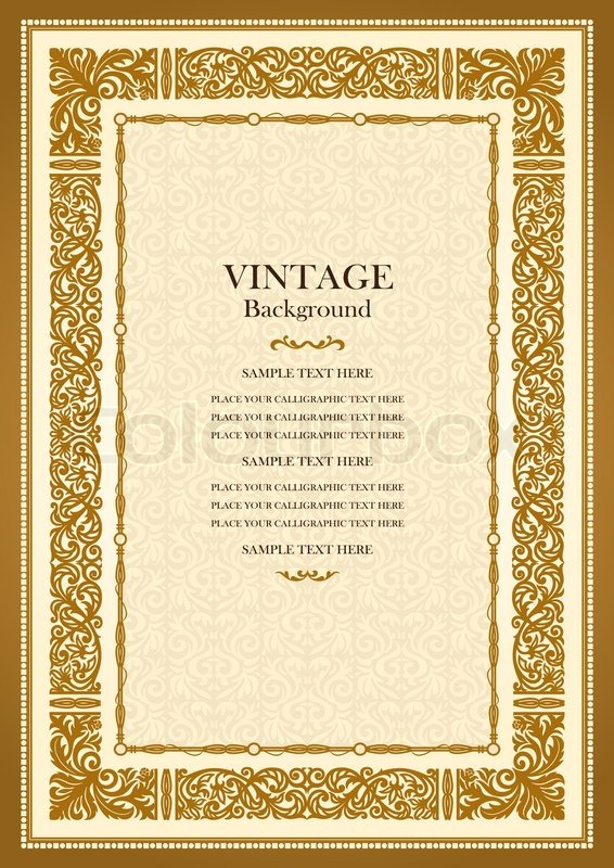 Vintage Book Cover Template : Vintage gold background antique style frame victorian
