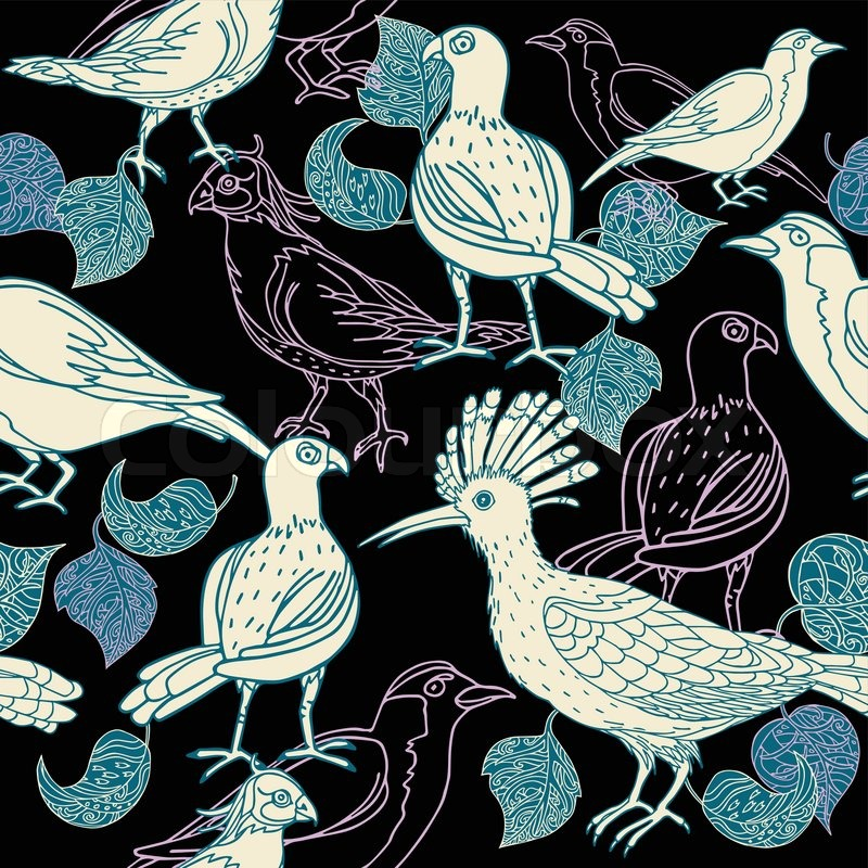 Vintage background, black fashion seamless pattern with birds, fashion ...