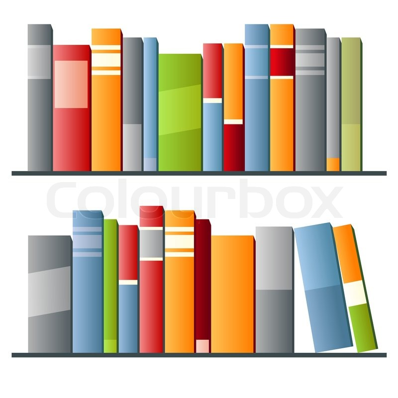 Books In A Row On White Background Vector Illustration