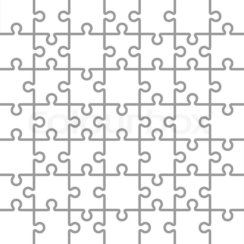 Jigsaw Puzzle White Blank Parts Template 7x7 Pieces Vector