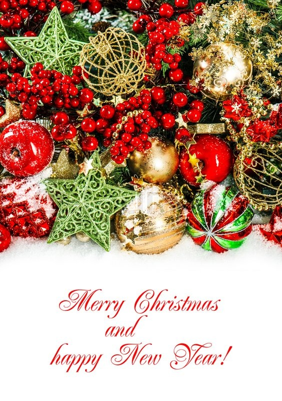 christmas decorations in red gold green holidays background with sample text merry christmas stock photo colourbox
