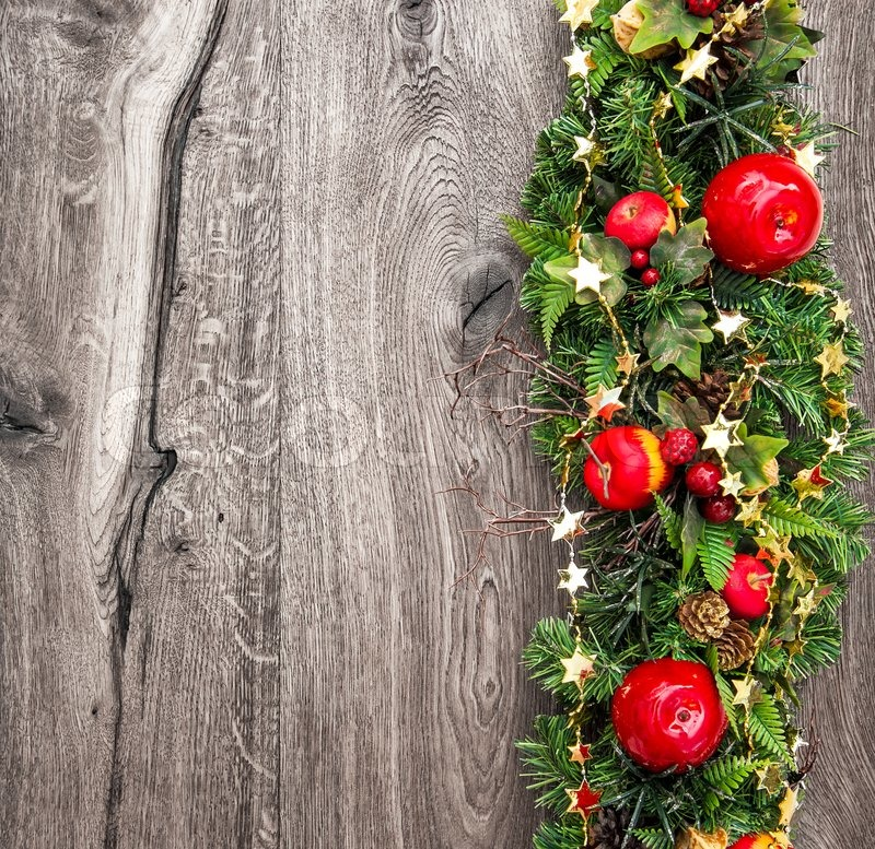 Christmas Wood Background.Christmas Decoration Red Green Gold Stock Image