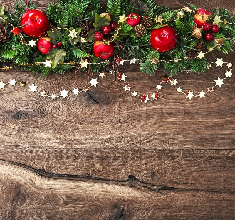 Christmas Decorations Garland With Red Stock Photo
