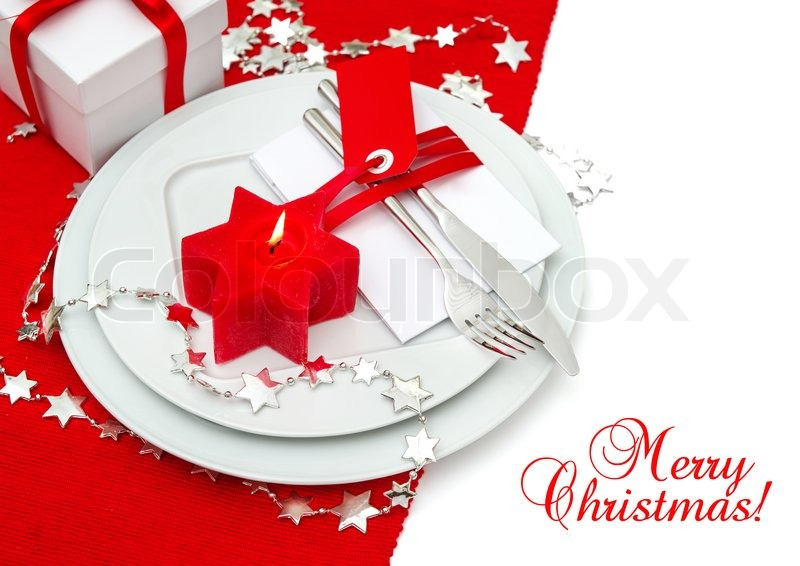 Festive Christmas Table Place Setting Decoration In Red