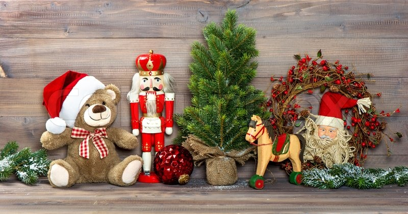 nostalgic christmas decoration with antique toys teddy bear and nutcracker retro style picture stock photo colourbox