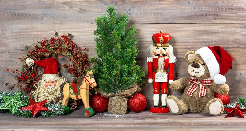 Retro Christmas Toy : Nostalgic christmas decoration with antique toys teddy