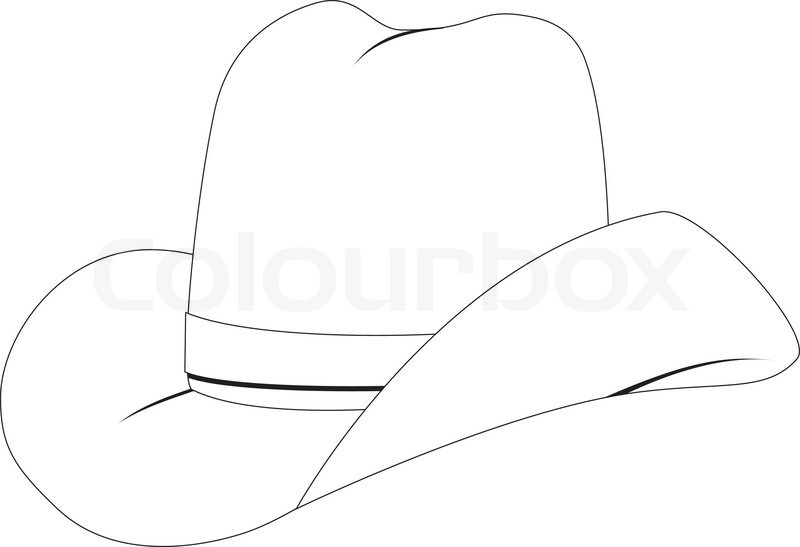 Line Drawing Hat : Line art of cowboy hat on white background stock vector