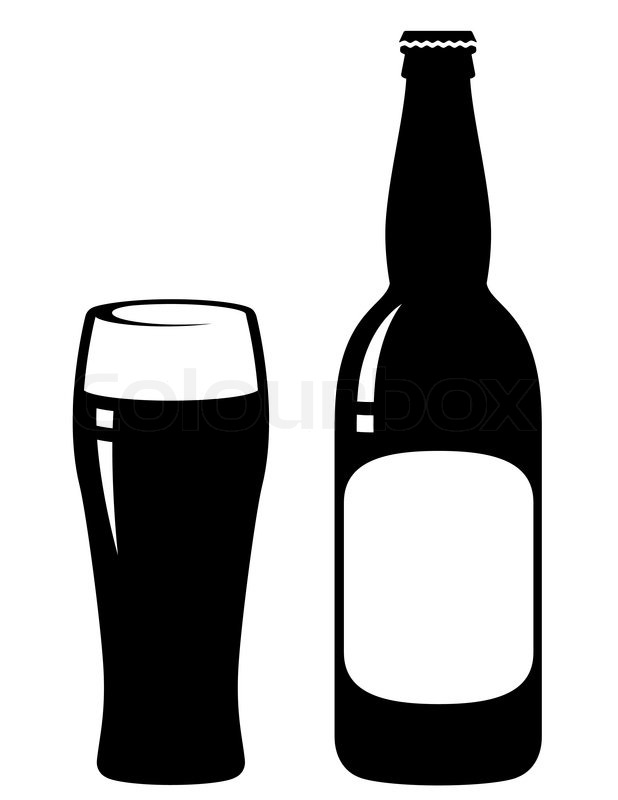 beer bottle and glass with blank label stock vector colourbox rh colourbox com vector beer bottle free vector beer bottle label