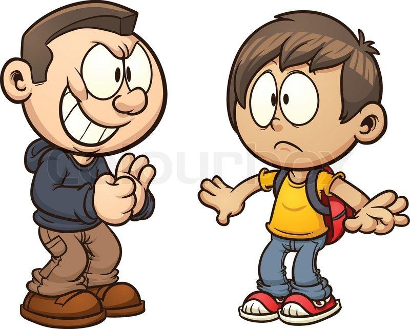 Love Each Other Clip Art: Cartoon Kid Getting Bullied. Vector Clip Art Illustration