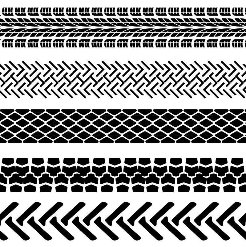 Set of detailed tire prints, vector illustration   Stock ...