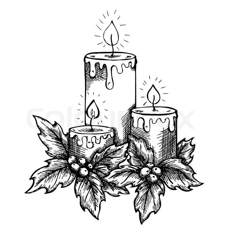 graphic drawing candles and holly berries and leaves sketch