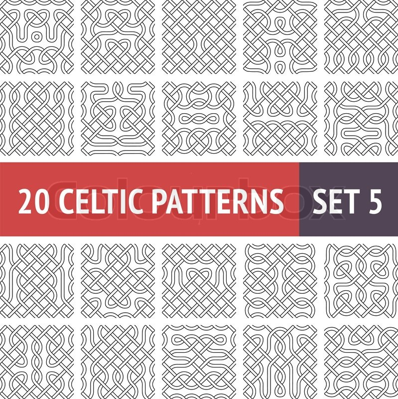 Set of 20 black and white celtic seamless patterns with for Irish mail cart plans