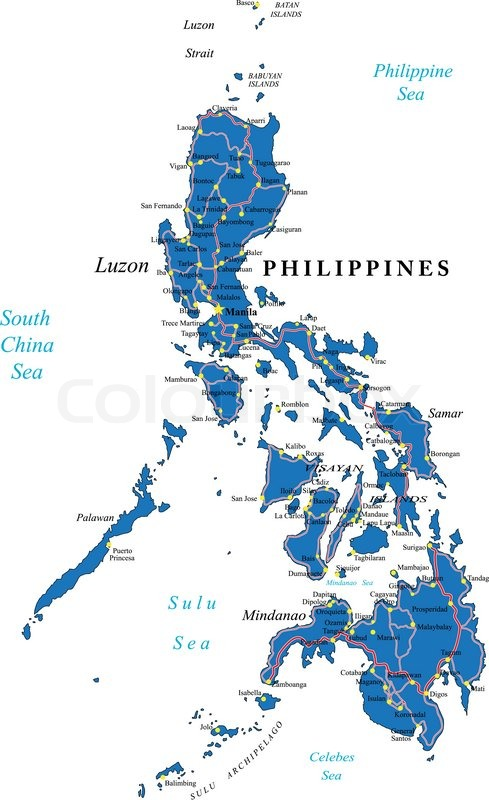 Highly detailed vector map of Philippines islands with ...