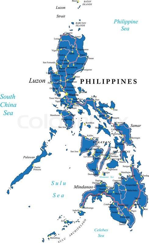 Karte Philippinen.Philippinen Karte Stock Vektor Colourbox