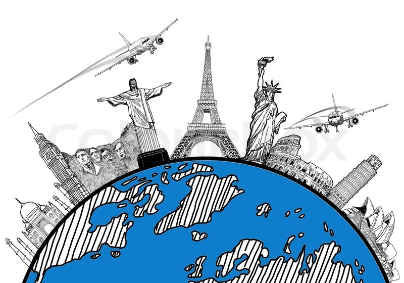 Airplane Travel In The World Around Global With Sketch Drawing