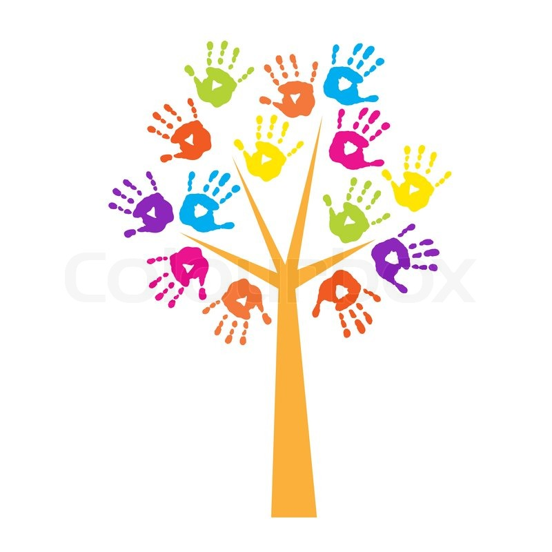 Tree With A Handprints Instead Of Stock Vector Colourbox