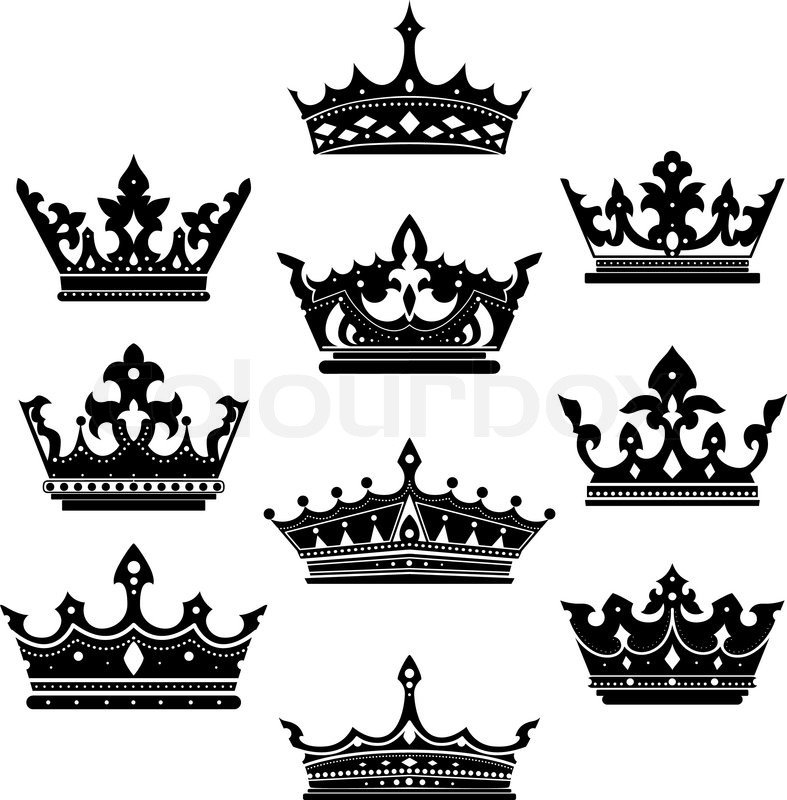 Black Crowns Set For Heraldry Design Isolated On White