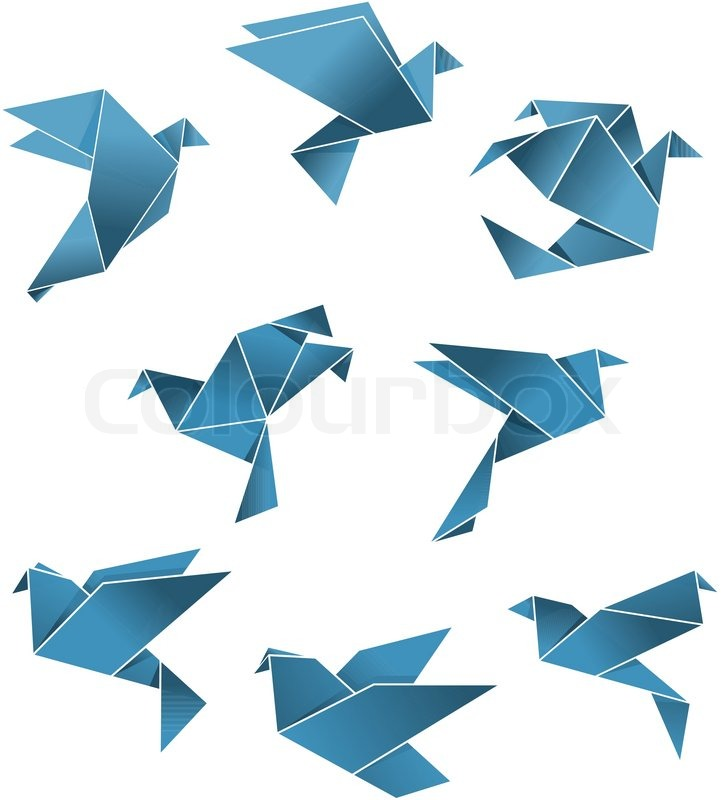 Blue Paper Pigeons And Doves In Origami Style Isolated On White Background For Peace Concept Design