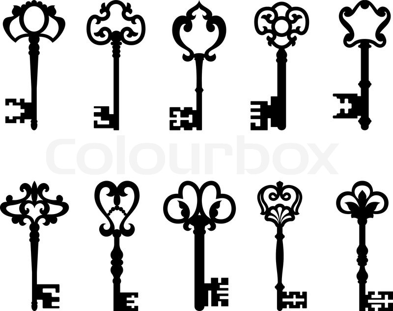 Black Vintage Keys Set Isolated On White Background For Retro Design Or Safety Concept