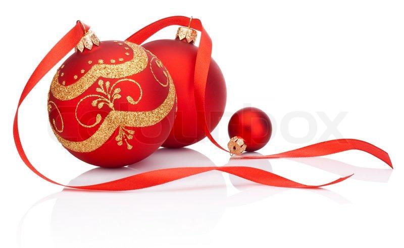 rote weihnachten dekoration kugeln mit band beugen. Black Bedroom Furniture Sets. Home Design Ideas