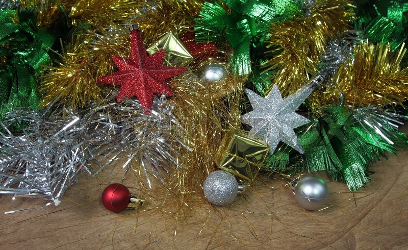 Christmas ornaments decoration on wooden background, stock photo