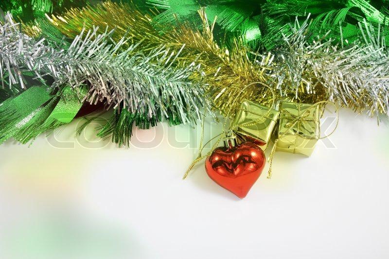 Christmas ornaments border decoration on white background, stock photo