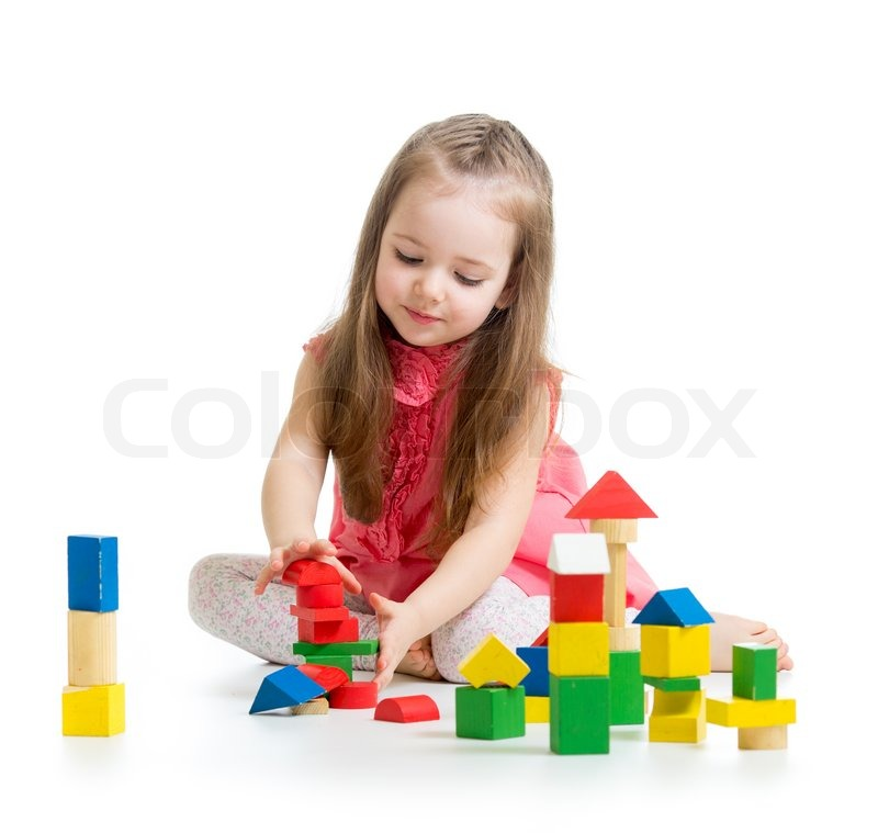 Adorable Little Girl Playing With Beach Toys During: Child Girl Playing With Colorful Building Block Toys